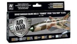 """Набір фарб 8 штук """"Кольори літака МіГ-21"""" Fishbed """"з 50-х по дев'яностих року"""", виробника VALLEJO 71607"""